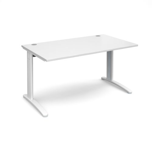 TR10 straight desk 1400mm x 800mm - white frame and white top