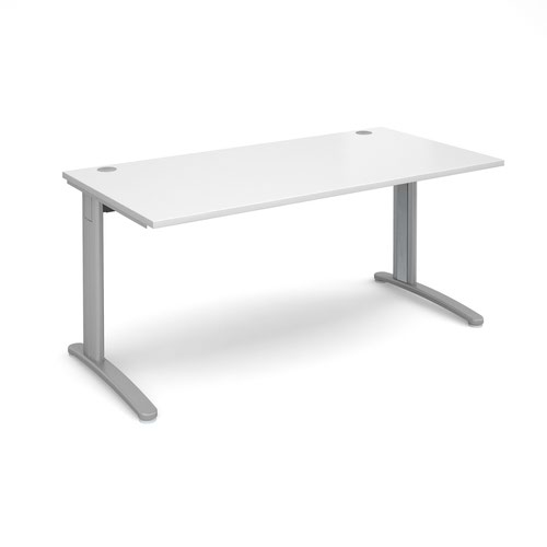 TR10 straight desk 1600mm x 800mm - silver frame and white top