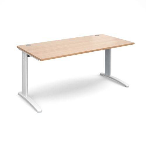 TR10 straight desk 1600mm x 800mm - white frame and beech top