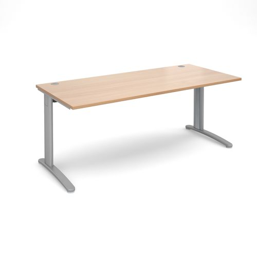 TR10 straight desk 1800mm x 800mm - silver frame and beech top