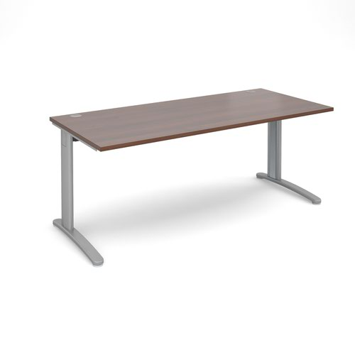 TR10 straight desk 1800mm x 800mm - silver frame and walnut top