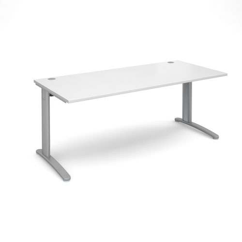 TR10 straight desk 1800mm x 800mm - silver frame and white top
