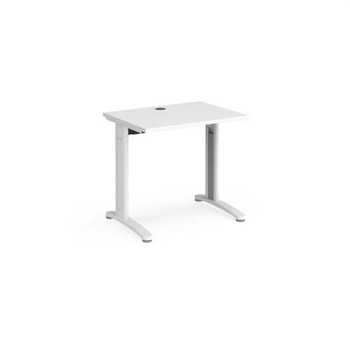 TR10 straight desk 800mm x 600mm - white frame and white top
