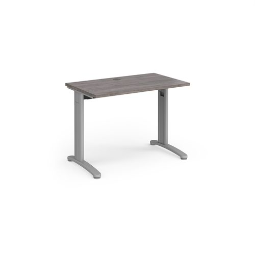 TR10 straight desk 1000mm x 600mm - silver frame and grey oak top