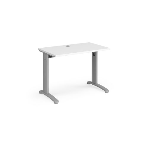 TR10 straight desk 1000mm x 600mm - silver frame and white top