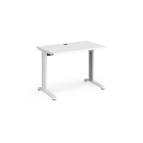 TR10 straight desk 1000mm x 600mm - white frame and white top