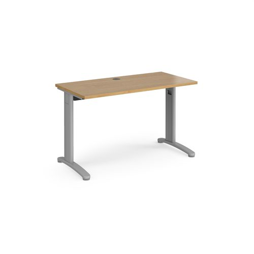 TR10 straight desk 1200mm x 600mm - silver frame and oak top