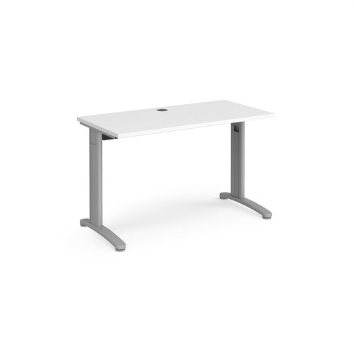 TR10 straight desk 1200mm x 600mm - silver frame and white top