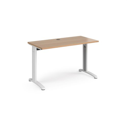 TR10 straight desk 1200mm x 600mm - white frame and beech top