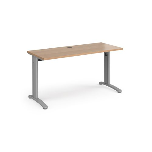 TR10 straight desk 1400mm x 600mm - silver frame and beech top