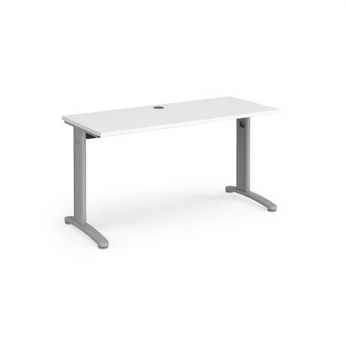TR10 straight desk 1400mm x 600mm - silver frame and white top