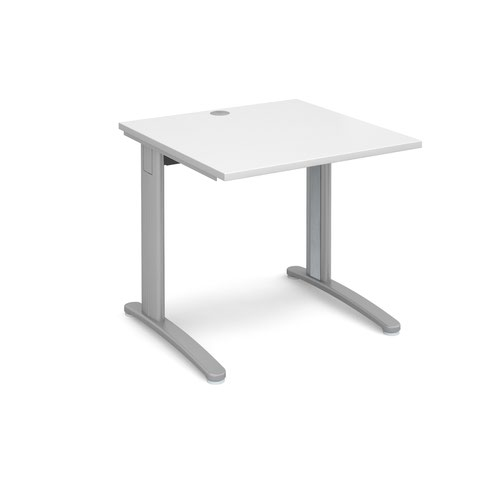 TR10 straight desk 800mm x 800mm - silver frame and white top