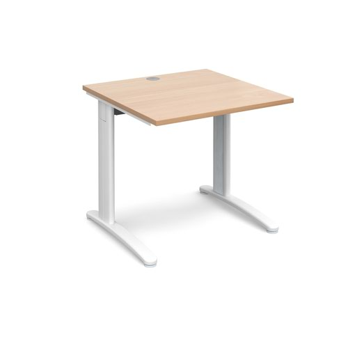 TR10 straight desk 800mm x 800mm - white frame and beech top