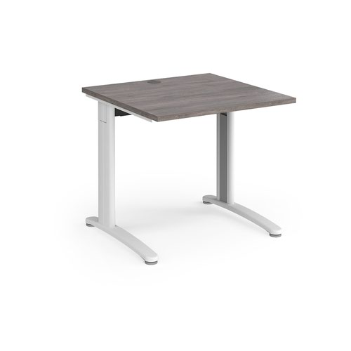TR10 straight desk 800mm x 800mm - white frame and grey oak top