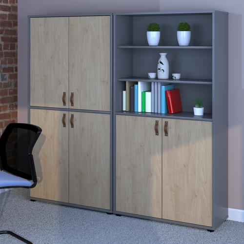 Universal combination unit with open top 1715mm high with shelves - oak Bookcases With Storage UHS2-KO-KO