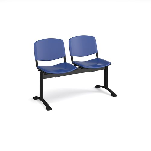 Taurus plastic seating - bench 2 wide with 2 seats - blue