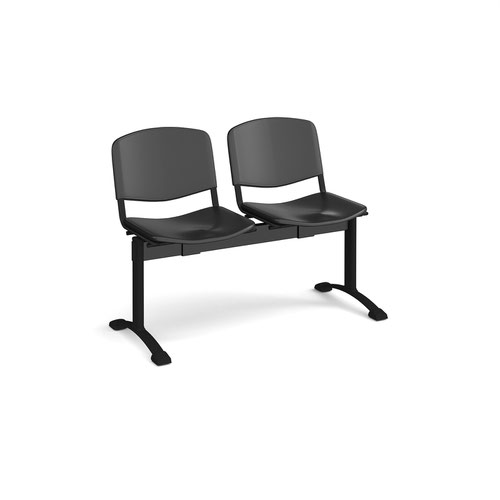 Taurus plastic seating - bench 2 wide with 2 seats - black