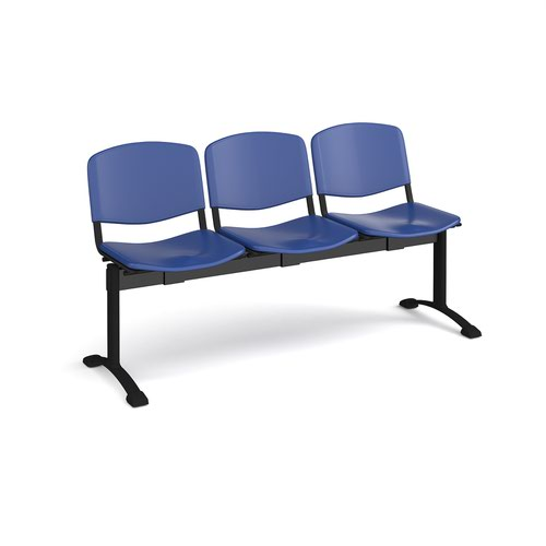 Taurus plastic seating - bench 3 wide with 3 seats - blue