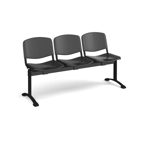 Taurus plastic seating - bench 3 wide with 3 seats - black