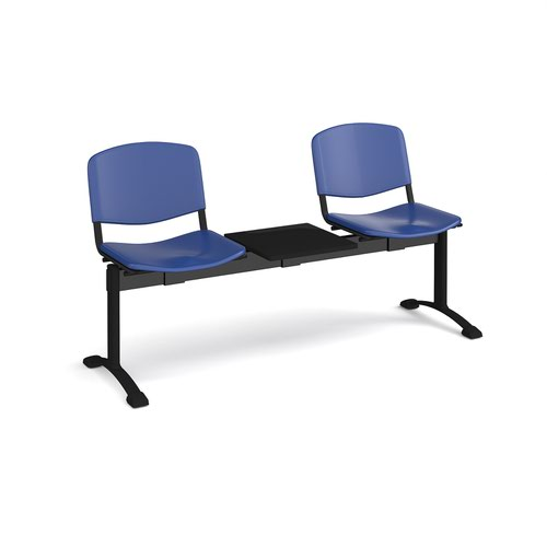 Taurus plastic seating - bench 3 wide with 2 seats and table - blue