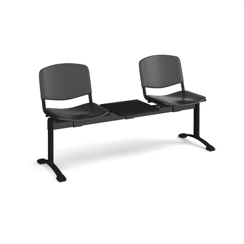 Taurus plastic seating - bench 3 wide with 2 seats and table - black