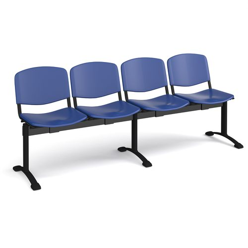 Taurus plastic seating - bench 4 wide with 4 seats - blue