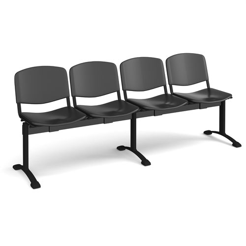 Taurus plastic seating - bench 4 wide with 4 seats - black