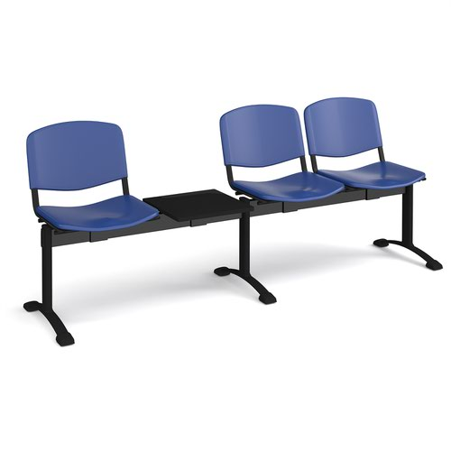 Taurus plastic seating - bench 4 wide with 3 seats and table - blue