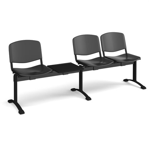 Taurus plastic seating - bench 4 wide with 3 seats and table - black