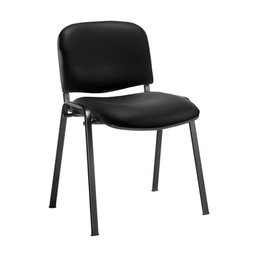 Taurus meeting room stackable chair with black frame and no arms - Nero Black vinyl