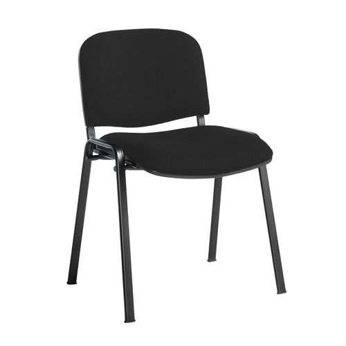 Taurus meeting room stackable chair with black frame and no arms - Havana Black