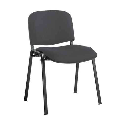 Taurus meeting room stackable chair with black frame and no arms - Blizzard Grey