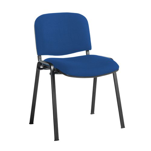 Taurus meeting room stackable chair with black frame and no arms - Scuba Blue