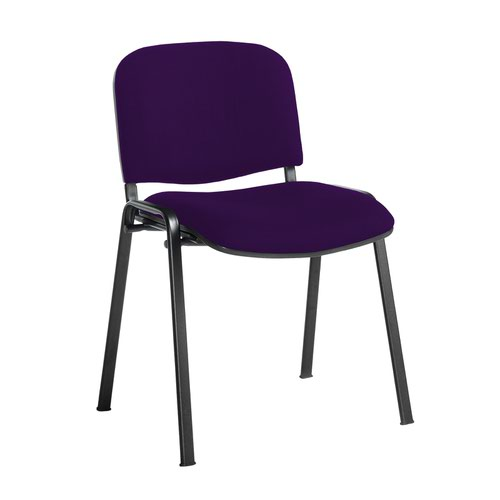 Taurus meeting room stackable chair with black frame and no arms - Tarot Purple