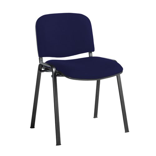 Taurus meeting room stackable chair with black frame and no arms - Ocean Blue