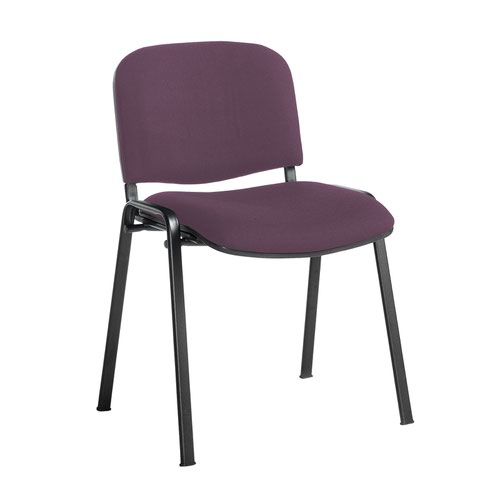 Taurus meeting room stackable chair with black frame and no arms - Bridgetown Purple