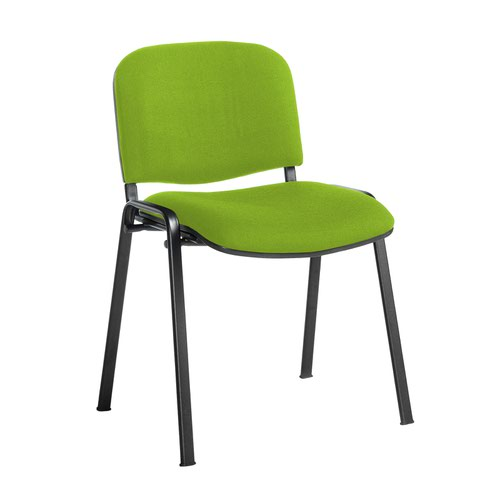 Taurus meeting room stackable chair with black frame and no arms - Madura Green