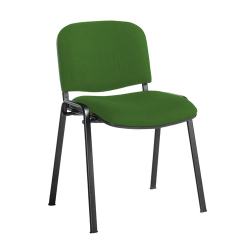 Taurus meeting room stackable chair with black frame and no arms - Lombok Green