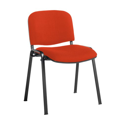 Taurus meeting room stackable chair with black frame and no arms - Tortuga Orange