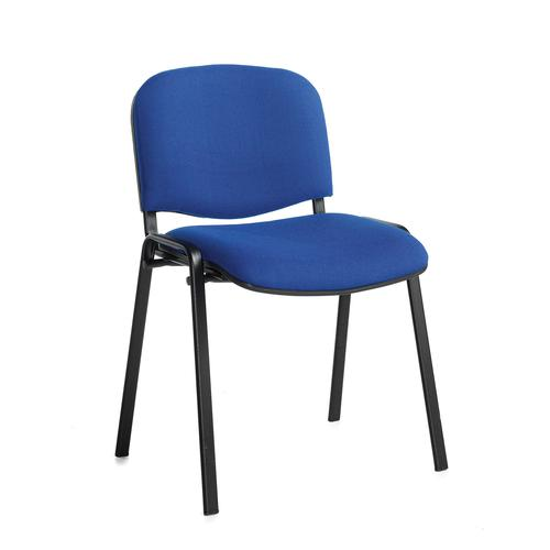 Taurus Stacking Chair with No Arms - Blue Fabric/Black Frame (TAU40002-B)