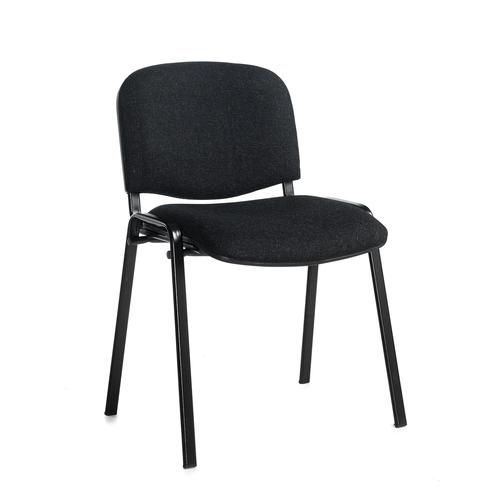 Charcoal meeting room stackable chair with black frame and no arms
