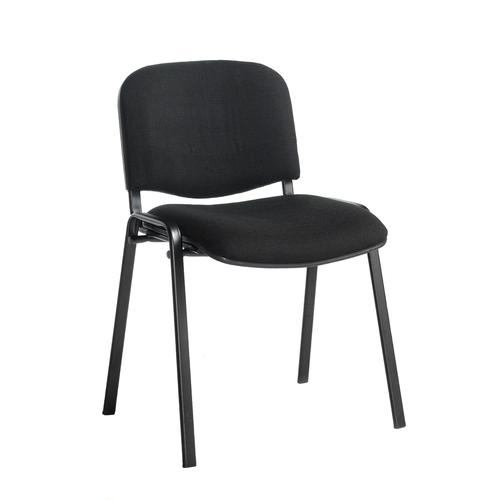 Black meeting room stackable chair with black frame and no arms