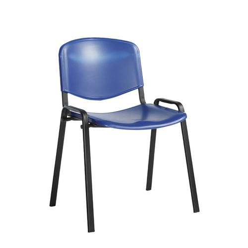 Taurus plastic meeting room stackable chair with no arms - blue with black frame