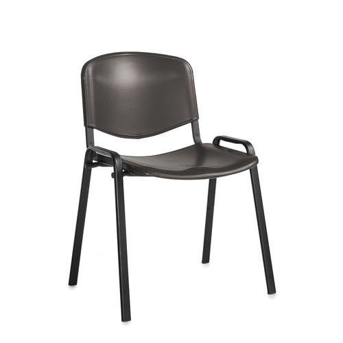Taurus plastic meeting room stackable chair with no arms - black with black frame