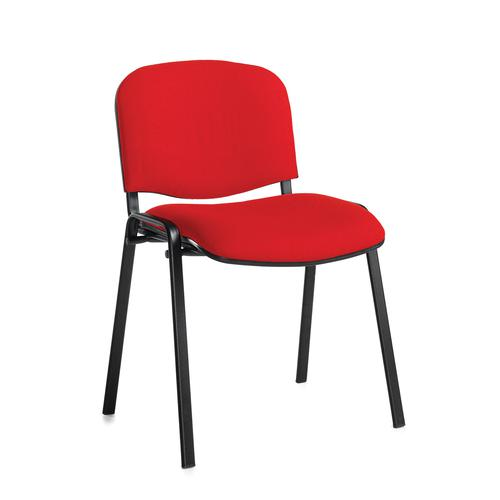 Red meeting room stackable chair with black frame and no arms
