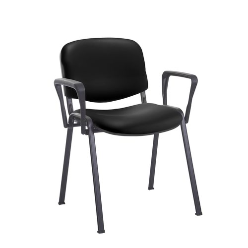 Taurus meeting room stackable chair with black frame and fixed arms - Nero Black vinyl