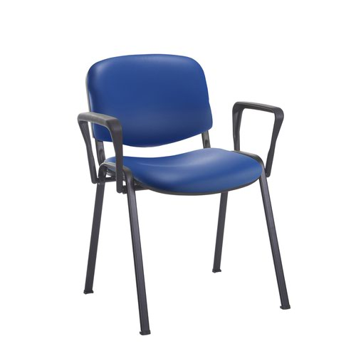 Taurus meeting room stackable chair with black frame and fixed arms - Ocean Blue vinyl