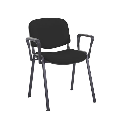 Taurus meeting room stackable chair with black frame and fixed arms - Havana Black