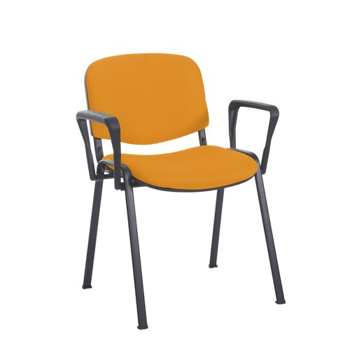 Taurus meeting room stackable chair with black frame and fixed arms - Solano Yellow