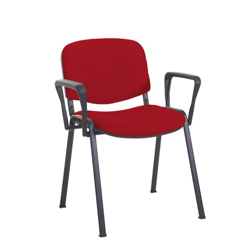 Taurus meeting room stackable chair with black frame and fixed arms - Panama Red